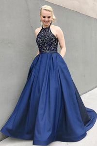 Charming Beaded Blue Prom Dresses,Long Evening Dress With Pockets PFP0291