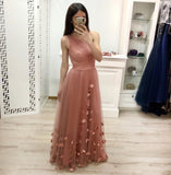 One Shoulder A Line Tulle Floor Length Prom Dresses Cheap Long Evening Dress PFP0519