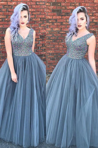 Luxurious A-line V Neck Sleeveless Grey Tulle Beading Long Prom Dress PFP0294