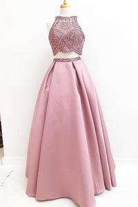 Gorgeous Two Piece Beading Pink Satin A Line Long Prom Dress PFP0295