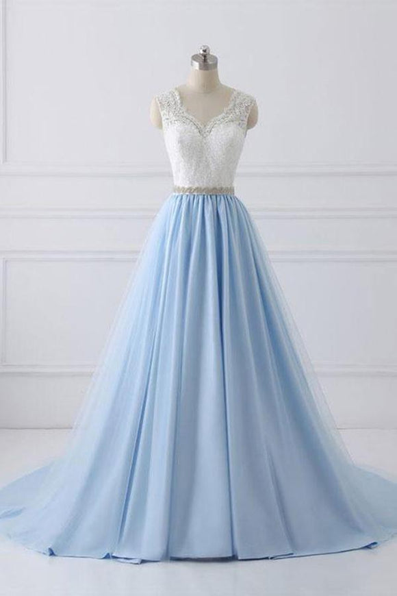 Sky Blue Long V Neck Evening Dress with Beaded Belt,Lace Top Long Prom Dress PFP0296