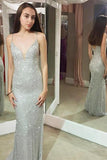 Shiny Mermaid Spaghetti Sheath Silver Long Sexy Prom Dresses PFP0012