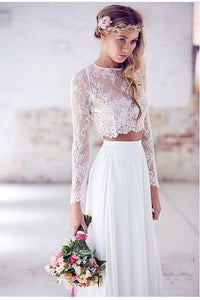 Two Pieces Long Sleeves Lace Beach Wedding/Bridal Dresses,Elegant White Sexy Wedding Gown PFW0238