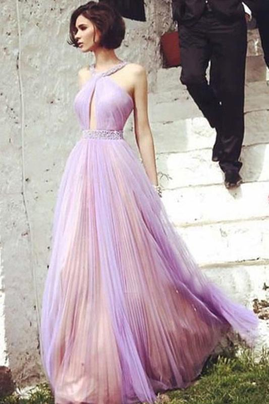 Beautiful Floor-length A Line Tulle Prom Dress,Elegant Beading Evening Dress PFP0297