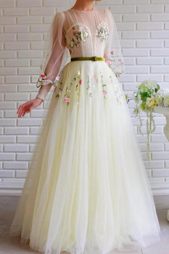 Promfast A-line Long Sleeves Tulle Long Prom Dress With Embroidery PFP1883