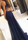 Navy Blue A Line Split Long Chiffon Open Back Prom Dresses PFP0301