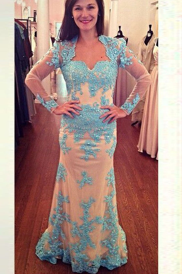 Lace Beading Mermaid Open Back Long Sleeves Modest Prom Dresses PFP1203
