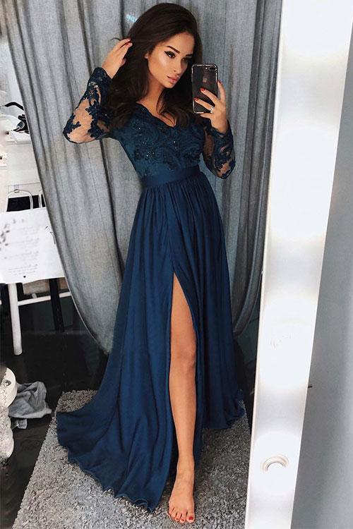 Charming Long Sleeves V Neck Lace Top A Line Split Long Prom Dresses PFP0302