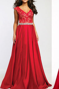 Sexy V-neck Long Satin Lace Red Simple Open Back Prom Dresses PFP1204