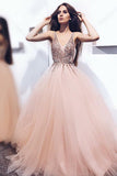 A-Line Pearl Pink Tulle V Neck Long Prom Dress with Sequins PFP0304