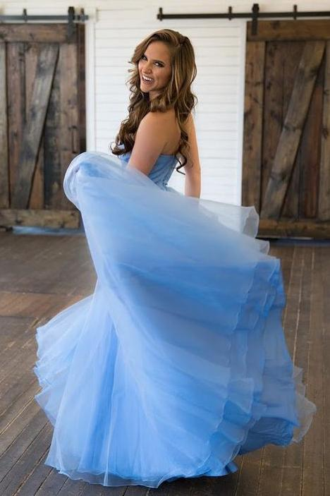 Sky Blue Tulle Long Sweetheart A line Lace Top Prom Dresses PFP0306