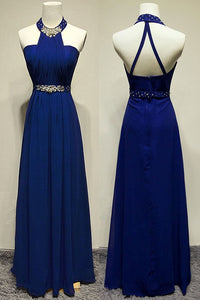 Royal Blue Halter Beading Backless Pretty Long Prom Dresses PFP1207