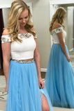 Two Piece Off the Shoulder Pink Blue Long Lace Beading Prom Dress with Side Slit PFP0308