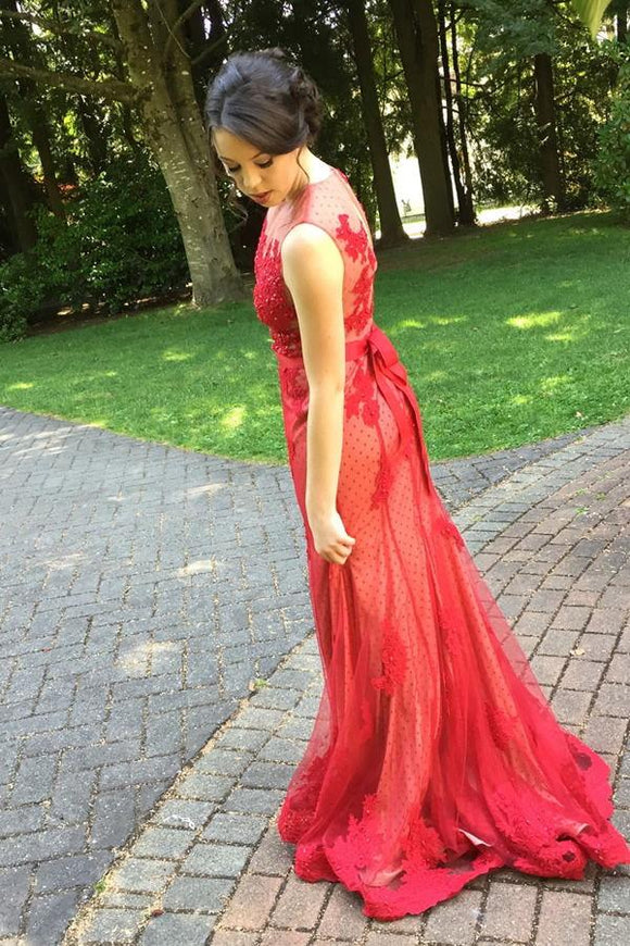 Red Lace Tulle Long Bow Sash Charming Prom Dresses PFP1210