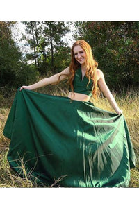 Green Two Pieces A Line Simple Long V Neck Prom Dresses PFP0310