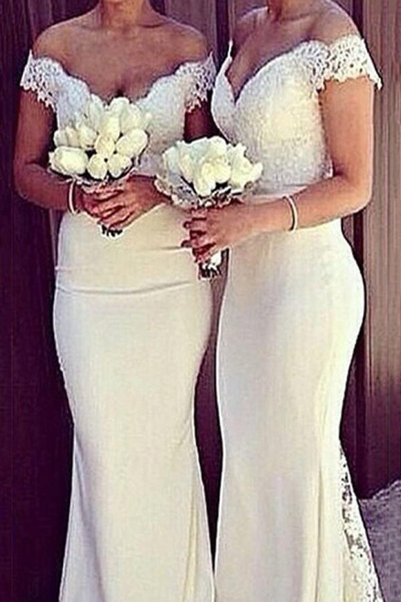 White Mermaid Lace Off Shoulder Long Open Back Prom Dresses PFP1211
