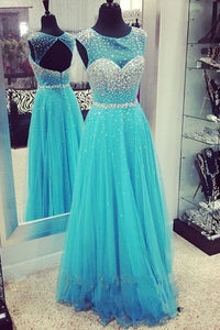 Cap Sleeves Long Beading Blue Elegant Open Back Prom Dresses PFP1212