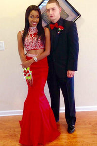 Red Beading 2 Pieces High Neck Long Mermaid Prom Dresses PFP1213