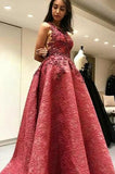 Modest A-Line Round Neck Backless Sweep Train Lace Prom Dress with Appliques PFP0313