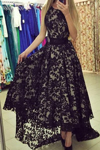 Modest Black Lace Long High Low Charming Prom Dresses PFP1216