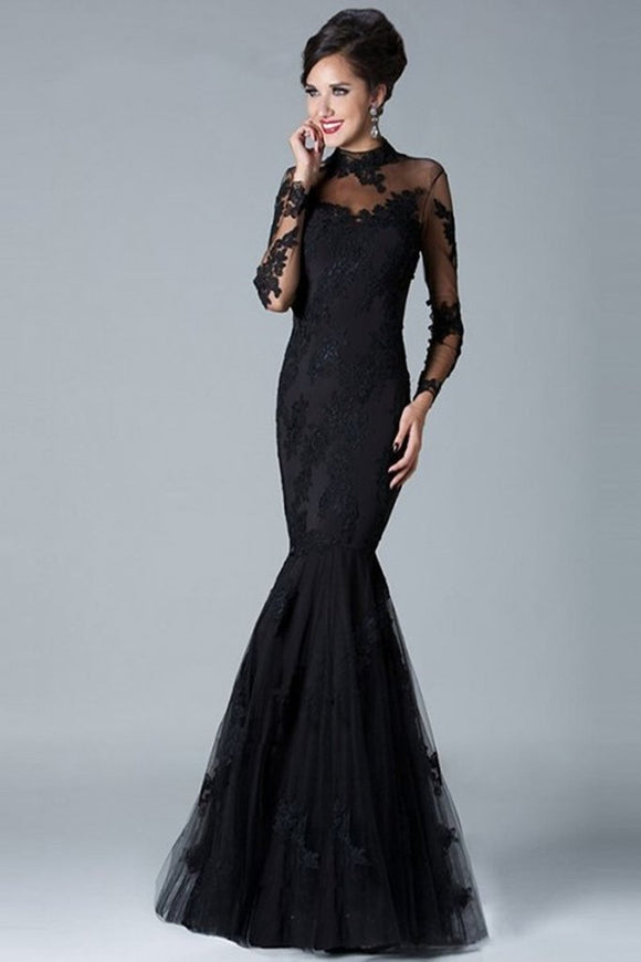 Charming Long Sleeves High Neck Black Lace Mermaid Prom Dresses PFP1218
