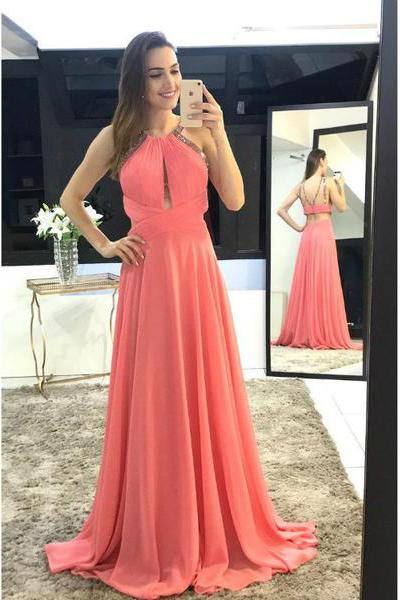 Modest Scoop A-Line Long Watermelon Chiffon Long Sleeveless Prom Dresses PFP0318