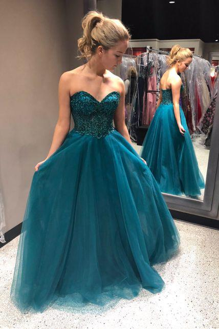 Sweetheart Beading A-Line Long Blue Tulle Cheap Prom Dresses PFP0319