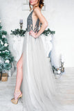 Sexy Sparkly Sequins Grey Long V Neck Tulle Prom Dress with Slit PFP0320