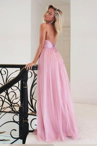 2019 Pink Long Princess Straps Prom Dress,Graduation Dress,Formal Evening Dress PFP0321