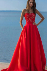 Charming Red A Line Long Satin Lace Top Prom Dresses With Pockets PFP0322