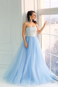 Princess Strapless Sky Blue Long Tulle A Line Prom Dress with White Lace PFP0324