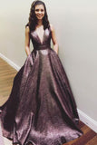 Elegant V Neck A Line Chocolate Long Prom Dress Ball Gown With Pockets PFP0326