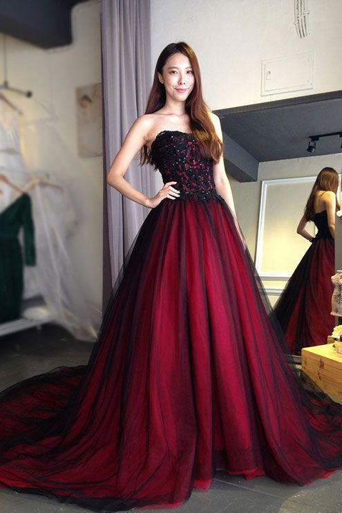 Burgundy Lace Tulle A Line Strapless Long Prom Dress PFP0327
