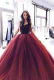 Princess Burgundy Strapless Ball Gown Long Evening Prom Dresses PFP0328