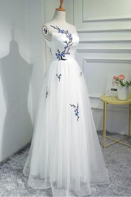 Simple Women Fashion White Embroidery Tulle Long Prom Evening Dresses PFP0329