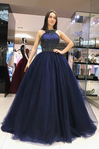 Elegant Scoop Royal Blue Ball Gown Beading Prom Dresses,Sweet 16 Dress PFP0330