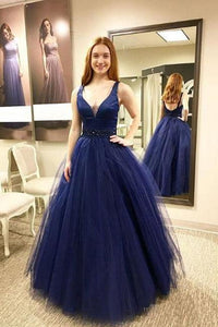 Fashion Blue Long V neck Tulle Puffy A Line Prom Dress PFP0331
