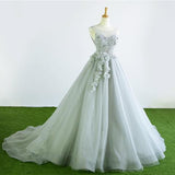 Gray Tulle Court Train Formal Long Prom Dress With Flowers PFP0332