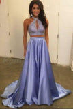 Two Piece Halter Keyhole Beaded Satin A Line Elegant Lavender Long Prom Dress PFP0333