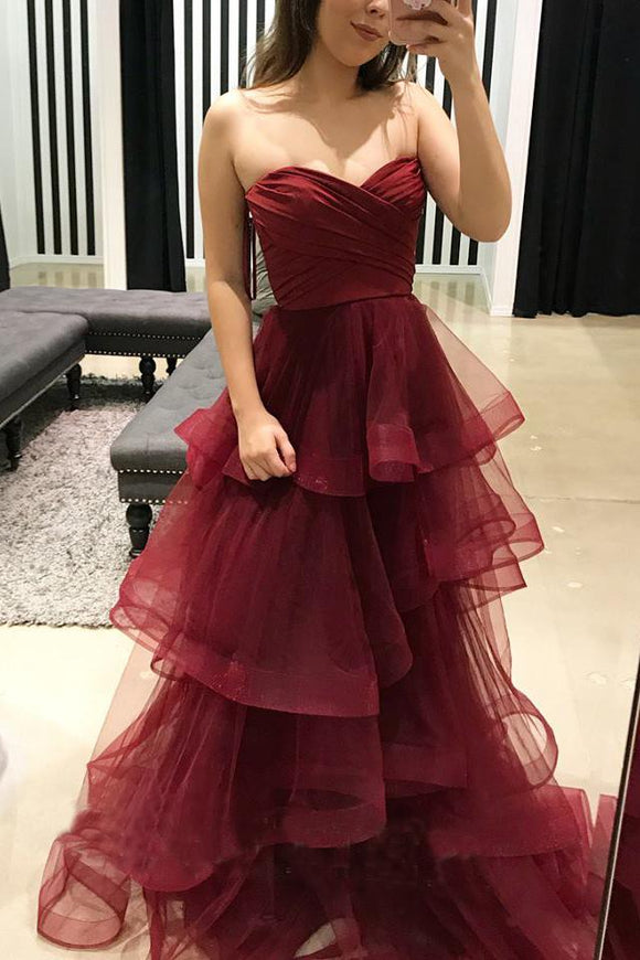 Burgundy Sweetheart Puffy Pleated Ruffles Long Prom Dresses PFP0336