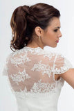 Cap Sleeve Lace Bolero Jacket Ivory Lace Bridal Top, Cheap Lace Appliques Wedding Jacket PFSW0011
