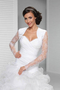 Cheap Sheer Tulle Long Sleeve Embroidery White Wedding Jacket, Bridal Jacket PFSW0002