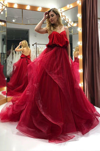 Spaghetti-straps Organza Long Burgundy Prom Gown Backless Party Dresses PFP1757