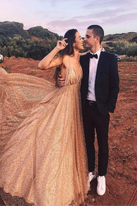 Sparkly Sequin Long Prom Dress Spaghetti V Neck Backless Evening Dress PFP1759