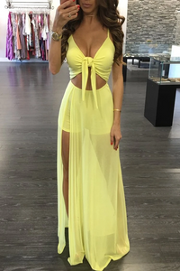 Promfast Trendy Twisted High Slit Maxi Romper Dress PFP1931