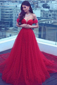 Charming A-Line Off-the-Shoulder Court Train Red Tulle Prom Dress PFP0344