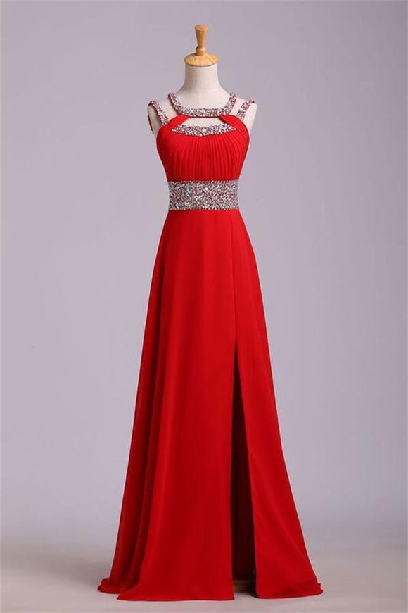 2019 Long Red Chiffon Beaded Backless High Low Prom Dresses PFP1245