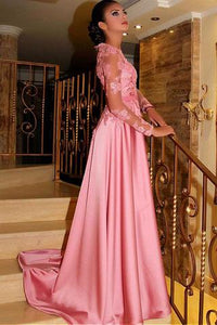Gorgeous Satin Jewel A-Line Long Sleeves Pink Prom Dresses With Lace Appliques PFP0345