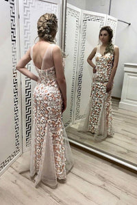 Mermaid Flowers V Neck Prom Dresses, Fashion Long Evening Dress