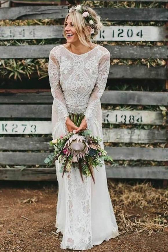 Long Sleeve Ivory Lace See Through Backless Beach Boho Wedding Dresses PFW0020